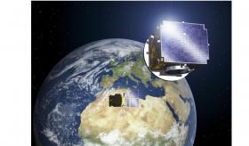 Les deux sondes Proba-3 en formation entre la Terre et le Soleil (Crédits ESA)